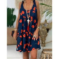 Fashion woman dress flower print strap summer dress with bandwidth loose casual large size dress