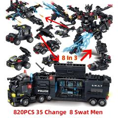 820PCS SWAT Helicopter Robot Vehicle Building Block Brick Set Compatible with Legoing Playmobil Kids Toys Juguetes brinquedos