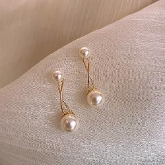 2019 New Arrival Metal Trendy Geometric Women Dangle Earrings Elegant  Retro Pearl Fashion Earrings Female Simple Jewelry