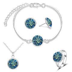 2019 Stainless Steel Jewelry Sets for Women Bridal Bridesmaid Broken Sparkly Quartz Rhinestone Necklace Set Wedding Jewelry Set