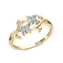 Elegant Leaf 18k Yellow Gold Plated Women Wedding Rings White Sapphire Size 6-10