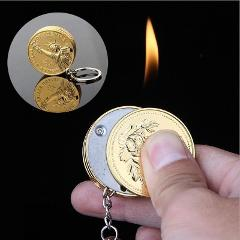 Creative Gas Cigarette Lighters Key Ring Coin Shape Metal Cigarette Lighters NO GAS