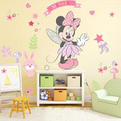 Pink Minnie Mouse Wall Stickers Cartoon Mural Vinyl Decals Kids Girls Room Decor
