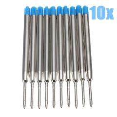 KICUTE 10x Metal Blue Ink Ballpoint Pen Refills Fine Point Medium Standard for Parker Style For School Office Signature Pen Rods