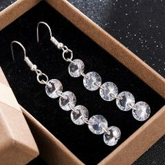 HOT Sale Fashion Long Dangle Earrings For Women Brand Romantic 5 Round Bead Crystal Drop Earrings Fashion Jewelry ER778