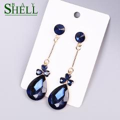 Shell bay Fashion Cubic Crystal Earrings White Simple Zircon Water drop Earrings For Women Gold Color Luxury Wedding Jewelry