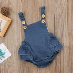 Sleeveless Infant Newborn Baby Girls Denim Romper Jumpsuit New Fashion Summer Bandage Playsuit Clothes Outfits