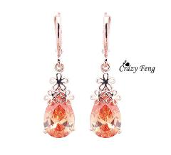Free shipping Crazy Feng Women/Girl's  Rose Gold-color 4 colors CZ  Flower Pierced Dangle Drop Earrings Jewelry Gifts