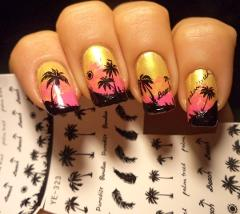 1 Sheet Feather Nail Water Decals Coconut Tree Summer Style Transfer Stickers Nail Art Sticker Tattoo Decals