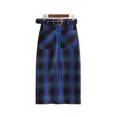 Vadim women chic plaid split midi skirt faldas mujer sashes pockets side zipper office wear female casual mid calf skirts BA316