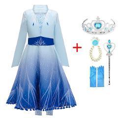 2019 New Anna Elsa 2 Dress Girls Princess Set Christmas Cosplay Elza Birthday Party Sky Blue Princess Dress For Kids Vestidos