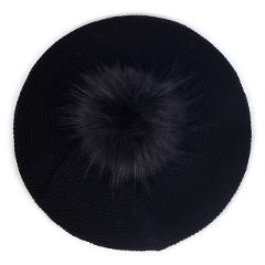 Geebro Slouchy Fashion Knitted Beret For Women Acrylic Hats Faux Fur Pom Pom Casual Bonnet Caps Female Solid Artist Baggy Beret