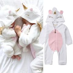 Newborn Kid Baby Girl Unicorn Flannel Romper Jumpsuit Outfit Warm Clothes Winter
