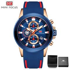 MINIFOCUS Chronograph Mens Watches Brand Luxury Casual Sport Date Quartz Silicone Wristwatches Waterproof Men's Wrist watch Man
