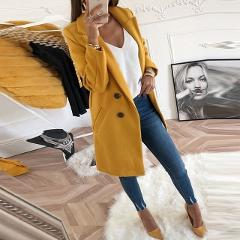Women Autumn Winter Woollen Coat Long Sleeve Turn-Down Collar Oversize Blazer Outwear Jacket Elegant Overcoats Loose Plus Size