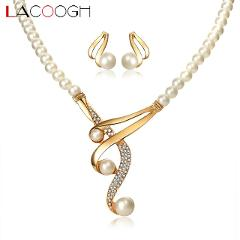 Lacoogh 2017 New Trendy Jewelry Sets for Women White Simulated Pearls Costume jewelery sets Fashion Party Jewelry Accessories