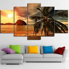 Canvas Paintings HD Prints Posters 5 Pieces Tropical Beach Palm Trees Sunset Seascape Pictures Framework Living Room Home Decor