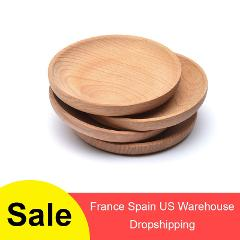 Eco-friendly Snack Plate Round Wooden Cake Fruits Dish Room Dessert Service Tray Wood Sushi Board Party Tableware