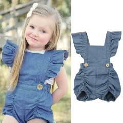 Baby Girl Solid Romper Summer Newborn Kids Baby Girls Romper Denim Jumpsuit Jeans Backless Playsuit Outfits Clothes 0-24 Months