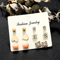 Crazy Feng 2019 Fashion Small Stud Earrings Set For Women Girl Crystal Stud Earrings Personality Party Jewelry Fashion Earring