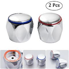 Hot Cold Faucet Handle Knob Red+Blue 2Pcs/Set Faucet Knob Handle Universal Replacement Handle Silver Tone