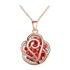 mum day gift Wholesales  ROSE gold color Rhinestones flower red crystal Pendant Necklace earrings jewelry sets 10843