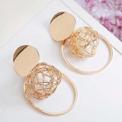 Fashion Women Faux Pearl Filled Hollow Wire Ball Metal Disc Hoop Charm Earrings