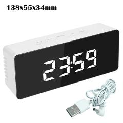 5Fuctions Button Digital Mirror LED Display Alarm Clock Desk Clock Temperature Calendar Snooze Function with USB 1pc 14x50x3.4cm