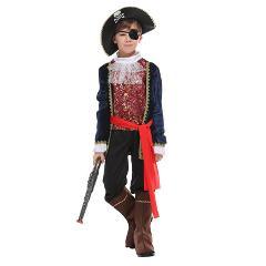 Kids Child One Eye Deluxe Pirate Captain Hook Buccaneer Costumes for Boys Halloween Carnival Masquerade Mardi Gras Party Outfit