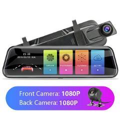 Jansite 10-inch Touch Screen 1080P Car DVR stream media Dash camera Dual Lens Video Recorder Rearview mirror 1080p Backup camera