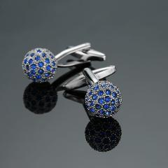 Novelty Luxury Blue white Cufflinks for Mens  Brand High Quality crown Crystal gold silver Cufflinks Shirt Cuff Links
