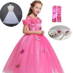 Kids Princess Dress Girls Sleeping Beauty Aurora Cosplay Costume Children Long Gown Halloween Party Tutu Dress up Fantasy