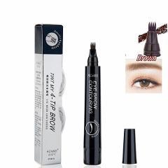 4 Colors 3D Microblading Eyebrow Tattoo Pen 4 Fork Tips Fine Sketch Liquid Eyebrow Pencil Waterproof Eyebrow Tint Makeup TSLM2