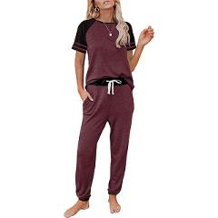 2021 new home service pajamas women all-match solid color stitching fashion round neck short sleeve casual suit