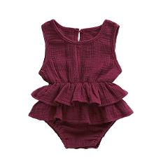 Baby Girls Ruffle Romper Jumpsuit One Piece Sleeveless Cotton Linen Playsuit Sunsuit Outfit Infant Summer Clothes 0-24M