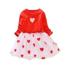 TSpring Autumn Girl Dress 1-8 Years Baby Kids Girls Heart Print Long Sleeve Dress Sweet Cotton Comfortable Toddler Mesh Dresses