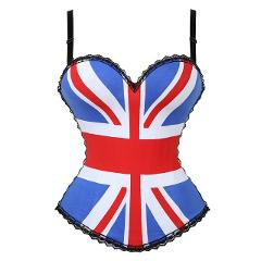 2019 Sexy Flag Corset Shaper Outwear US Flag Design Female Bustier Top Quality Cotton Demin Corset for Women 2269