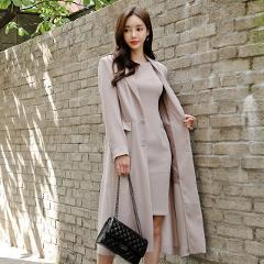 Autumn Spring New Korean Women Dresses Suit Knee Length Long Trench Coat and Dress Female Two Piece Blazer Set