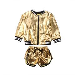 2018 New Tollder Kid Baby Clothing Girls Clothes Casual Bling Jacket Tops+Shorts 2PCS Set Toddler Clothes Outfit Wild fashion