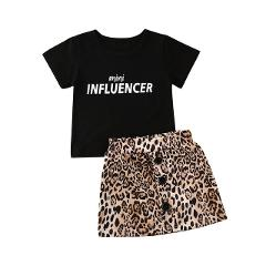 Toddler Kids Baby Girl Leopard Print Clothes Mini Tops T-Shirt+Skirt 2PCS Outfits Set Short Sleeve Summer Princess Clothing 1-6Y