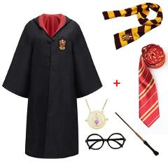 Hermione Granger Halloween Costume Slytherin Robe Cloak Scarf Wand Party Cosplay Kids Wizard Witch Clothes Accessories