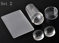 Biutee Nail Art Templates Pure Clear Jelly Silicone nail stamping plate Scraper with Cap Transparent 2.8cm Nail Stamp Nail Art
