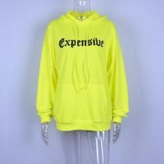 GBYXTY Letter Print Boyfriend Style Oversized Neon Color Hoodies Casual Long Sleeve Hooded Hoodies Women Sweatshirt ZA1238