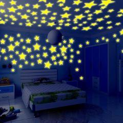 100PC Kids Bedroom Fluorescent Glow In The Dark Stars Glow Wall Stickers Stars Luminous luminous glow sticker color 8.13