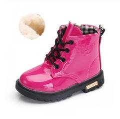 Autumn Winter 2019 Kids Shoes Girls Pink Short Boots Children Martin Boots Handmade Leather Boots Toddler Shoes Kids Sneakers