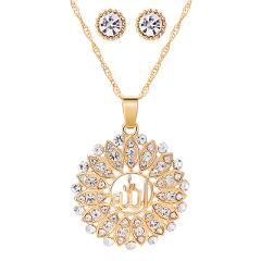 2020 Gold Color Round Pendants & Necklace Stud Earrings Colorful Rhinestone Cubic Zirconia Crystal Wedding Bridal Jewelry Sets
