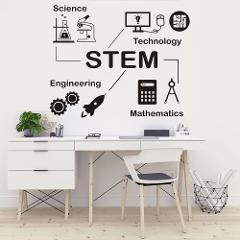 science technology engineering mathematics STEM wall sticker Scientist Chemistry School laboratory dormitory home decor  HWJ023