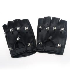 Rivets Punk Gloves Men Hip-hop Black PU Leather Half-finger Round Tactical Gloves Without Fingers Nail Luva Motociclista #YJ