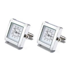 Lepton Functional Watch Cufflinks For Men Square Real Clock Cuff links With Battery Digital Mens Watch Cufflink Relojes gemelos