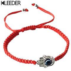 KLEEDER Handmade Braided Rope Bracelets Red Thread Blue Eye Charm Bracelets Bring You Lucky Peaceful Bracelets Adjustable Length